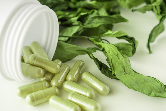 Herbal medicine capsules with Andrographis paniculata leaf on white background