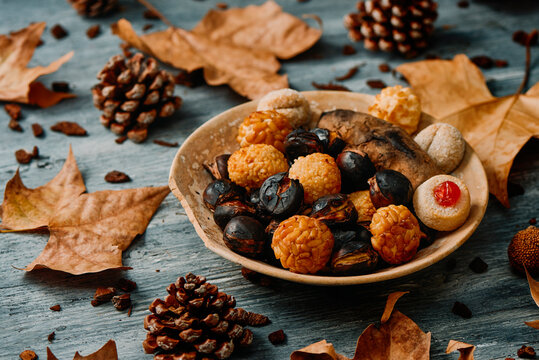 panellets, roasted sweet potato and chestnuts