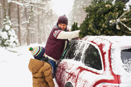 Man with son loading Christmas tree into roof of car