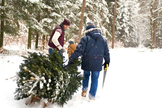 Family preparing for Christmas time