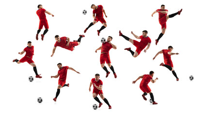Obraz Collage made of shots of one professional football soccer player with ball in motion, action isolated on white studio background. - fototapety do salonu