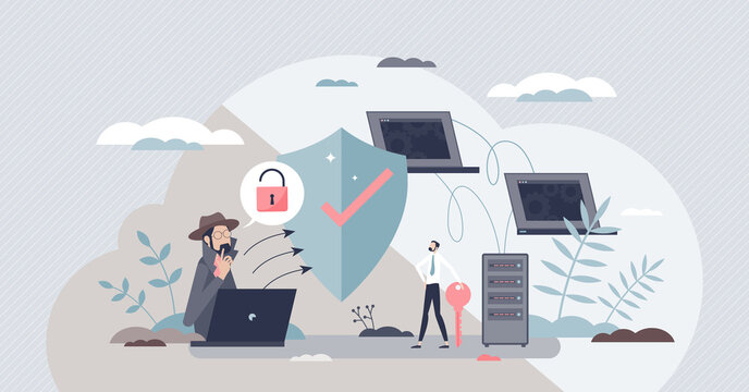 Network security and safe data file storage with shield tiny person concept. Information protection from criminal hackers and thief with firewall and encryption software systems vector illustration.