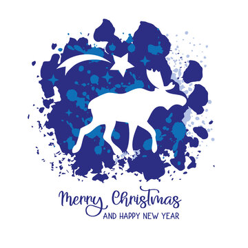 Merry Christmas and happy new Year Greeting Card with reindeer and falling star - blue and white