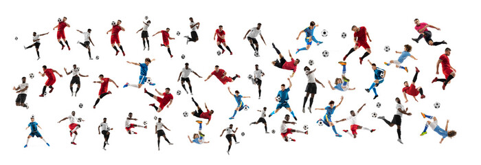 Collage made of professional football soccer players with ball in motion, action isolated on white...