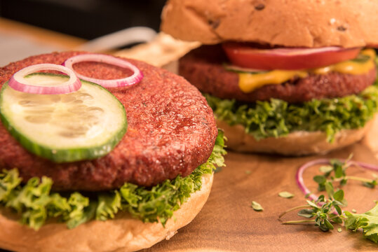 Vegan soy protein burger with vegetables