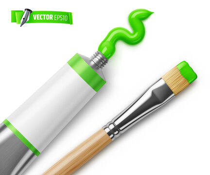 Vector realistic illustration of a green paint tube and a paintbrush on a white background.