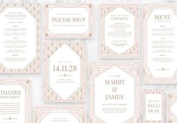 Fototapeta Rose Gold Art Deco Wedding Stationery Suite obraz
