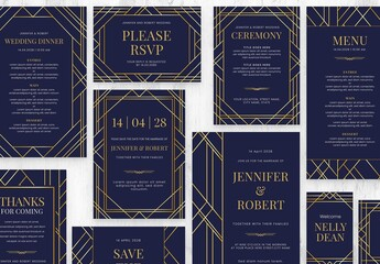 Fototapeta Royal Blue & Gold Art Deco Wedding Stationery Suite obraz