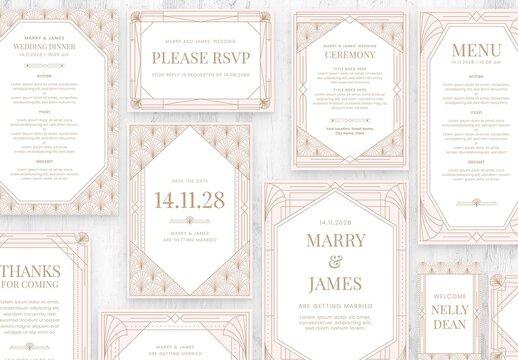 Rose Gold Art Deco Wedding Stationery Suite