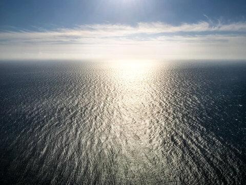 Ocean aerial view at sunset