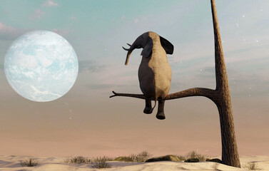 Fototapeta Elephant stands on thin branch of withered tree in surreal landscape. This is a 3d render illustration obraz