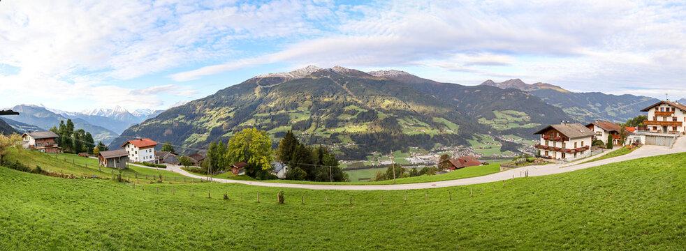 View to Zillertal valley with sunset over Kaltenbach mountain range and ski area, Austrian alps in Tirol, Austria Europe