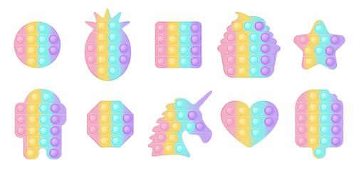Fototapeta Set of 10 forms pop it a fashionable silicon toys for fidgets. Addictive anti-stress toy in pastel colors. Bubble sensory developing popit for kids. Vector illustration isolated on a white background. obraz
