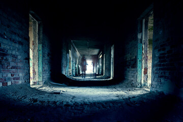 abandoned creepy corridor with ghoast in szentkiralyszabadja Hungary ghost tour