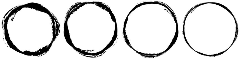 Fototapeta Grungy textured circle element, shape. Circular grunge shape obraz