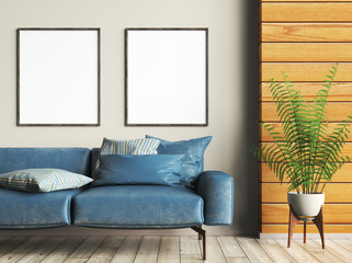 Obraz Interior design of modern living room with blue sofa, mockup frames on the wall, wooden panelling. Home design. 3d rendering - fototapety do salonu