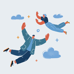 Obraz Vector illustration of flying people. Happy, success and freedom concept. - fototapety do salonu