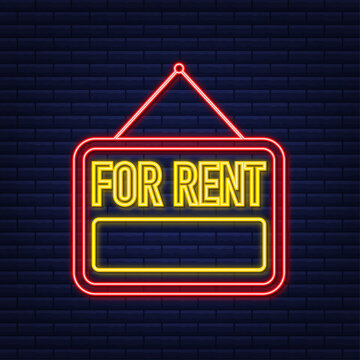 For rent red neon sign on blue background. House, property, rent. Vector stock illustration.