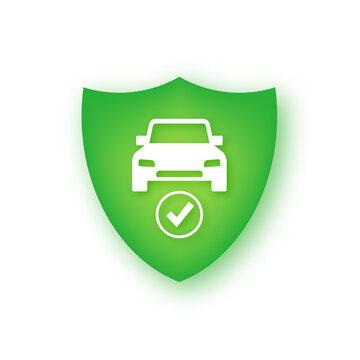 Car guard shield sign, vehicle collision insurance. Safe guard.