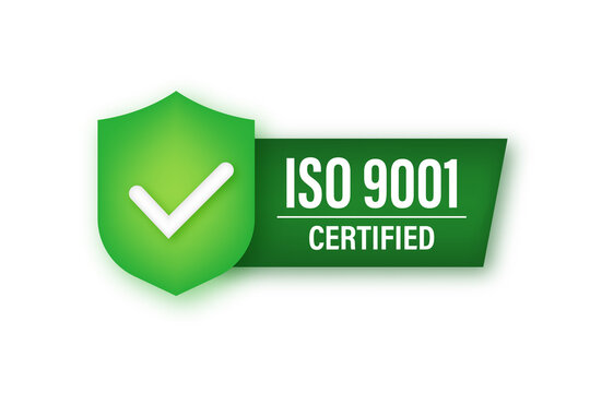ISO 9001 Certified badge, icon. Certification stamp. Vector stock illustration.