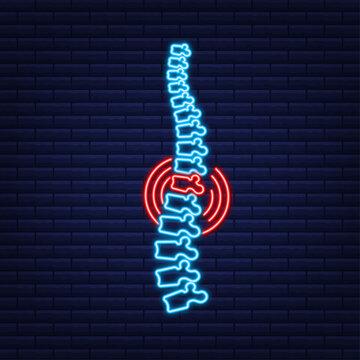 Neon Spine human graphic icon. Human anatomy. Vector stock illustration