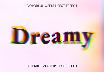 Fototapeta Editable Text Effect Layout with Colorful Offset Font obraz