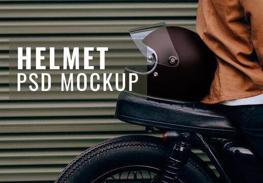 Black Helmet Mockup Placed on a Motorcycle