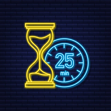 The 25 minutes, stopwatch vector neon icon. Stopwatch icon in flat style, timer on on color background. Vector illustration