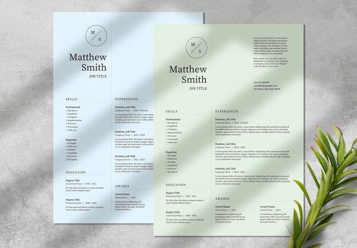 Resume Layout with Green and Blue Accents
