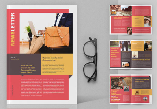 Newsletter Layout with Red and Orange Accents