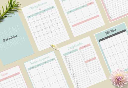 Student Planner Layout with Pastel Green and Pink Accents