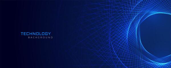 Fototapeta abstract blue lines technology background obraz