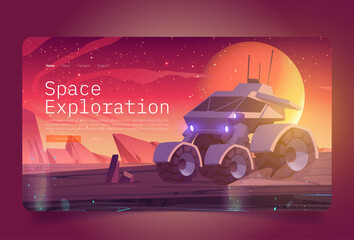 Fototapeta Space exploration banner with rover on alien planet surface. Vector landing page of cosmos investigation with cartoon illustration of planet landscape with explorer robot, rocks and stars in sky obraz