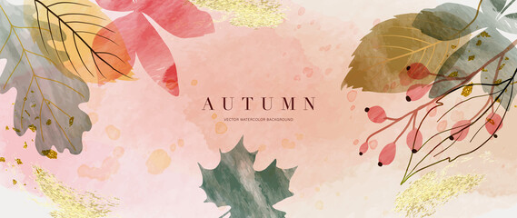 Fototapeta Autumn background vector. Hand painted watercolor and gold brush texture, Flower and botanical leaves hand drawing. Abstract art design for wallpaper, wall arts, cover, wedding and  invite card.   obraz