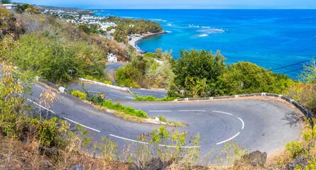 Fototapeta Route en lacets, chemin de la Surprise, Saint-Leu, île de la Réunion  obraz