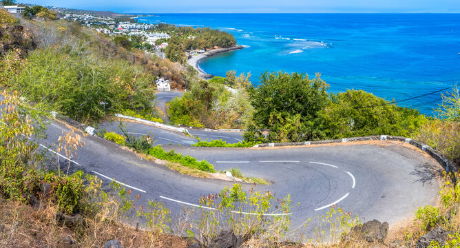 Route en lacets, chemin de la Surprise, Saint-Leu, île de la Réunion