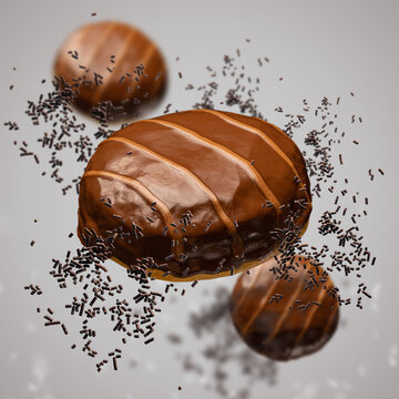 Flying doughnuts with chocolate glaze