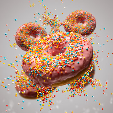 Flying sweet donuts with sprinkels