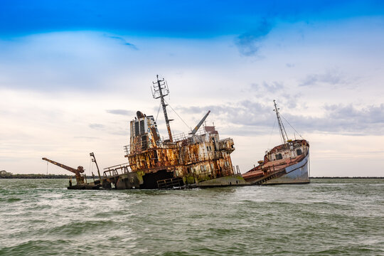 Wrecked ship in sea