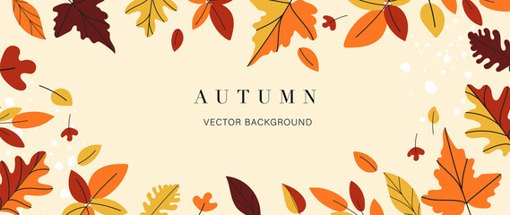 Fototapeta Autumn background vector. Autumn shopping event illustration wallpaper with hand drawn icons set. This design good for banner, sale poster, packaging background and greeting card. obraz