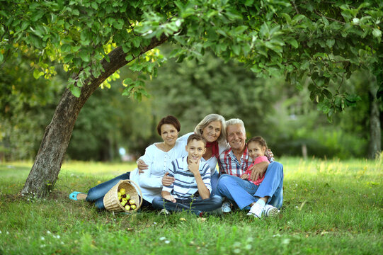 happy family with children in park