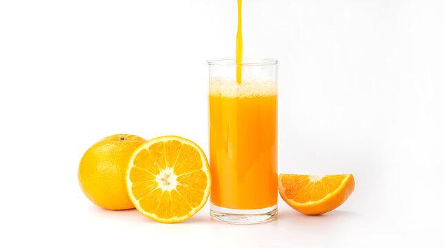 Fresh orange juice on a white background.