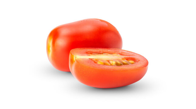 Red tomato on a white background.