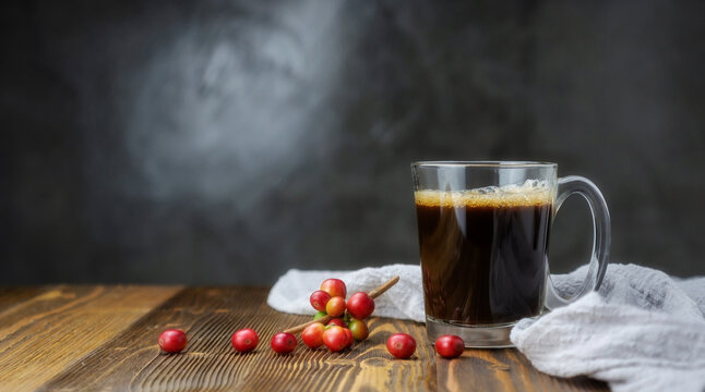 A cup of coffee and fresh coffee beans on a wooden table.