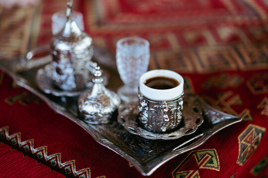 closeup of Turkish coffee in traditional cups