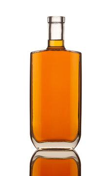 square shape cognac bottle isolated on white background