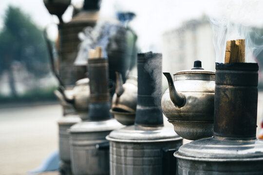 row of traditional Turkish tea metallic samovars