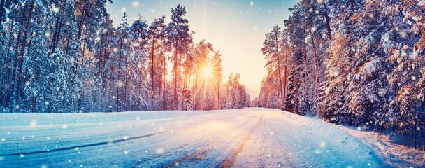 Obraz Panoramic view of the beautiful rural road in winter - fototapety do salonu