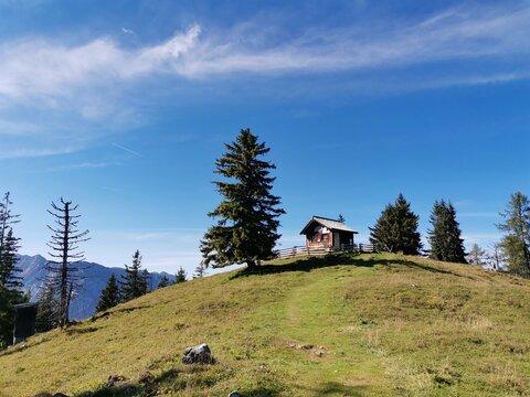 Eine Hütte und ein Baum auf einem Berg