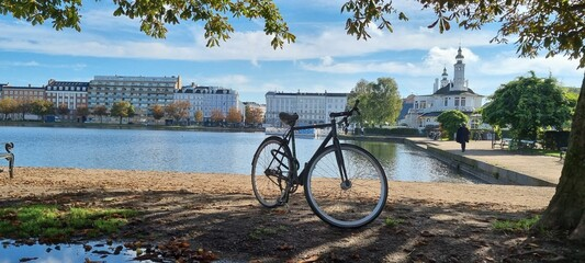 bicycle nearthe lake, Copenhagen, Denmark